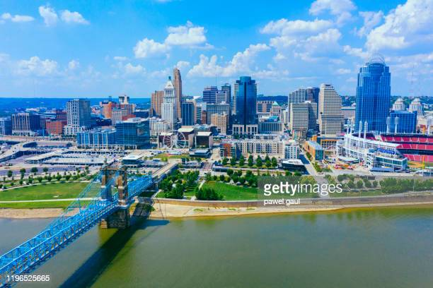cincinnati skyline aerial view with ohio river - ohio stock pictures, royalty-free photos & images