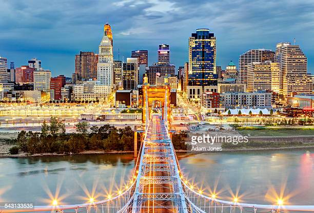 cincinnati skyline from atop roebling bridge - ohio stock pictures, royalty-free photos & images