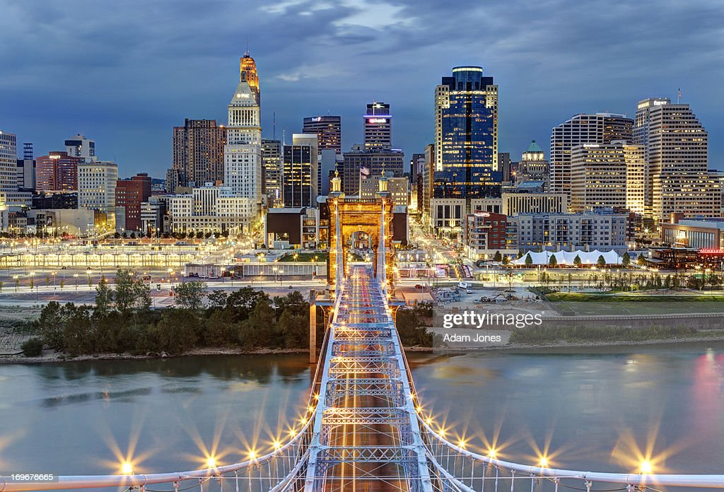 Cincinnati skyline from top of Roebling Bridge : Stock Photo