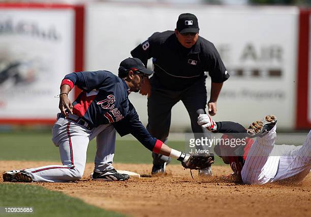 Cincinnati's David Ross is tagged out by Atlanta's Tony Pena on this play during Sunday's action at Ed Smith Stadium in Sarasota, Florida on March...