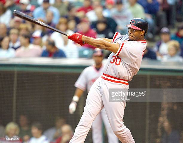Cincinnati's Ken Griffey Jr belts a single off of the wall in the third inning versus the Cleveland Indians Junior was 3 for 5 on the day in the 65...