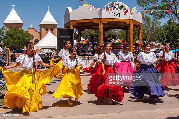 cinco de mayo celebration at historic old mesilla - traditional dancing stock photos and pictures