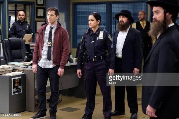 NINE Cinco De Mayo Episode 616 Pictured Andy Samberg as Jake Peralta Melissa Fumero as Amy Santiago Joe Lo Truglio as Charles Boyle Winston Story as...