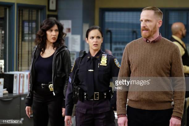NINE Cinco De Mayo Episode 616 Pictured Stephanie Beatriz as Rosa Diaz Melissa Fumero as Amy Santiago Marc Evan Jackson as Kevin Cozner