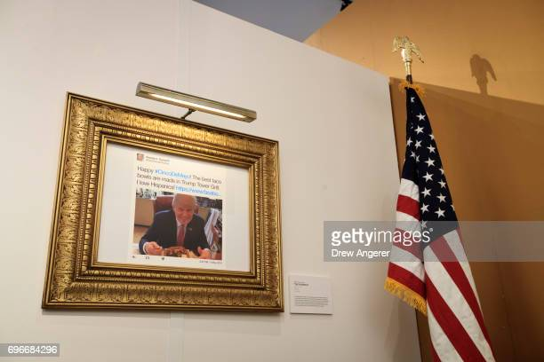 Cinco de Mayo related tweet is displayed at The Daily Showproduced 'Donald J Trump Presidential Twitter Library' June 16 2017 in New York City The...
