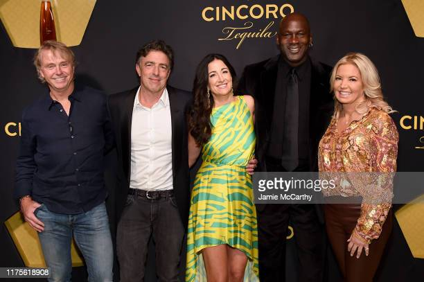 Cincoro Founding Partners Wes Edens Wyc Grousbeck Emilia Fazzalari Michael Jordan and Jeanie Buss attend the Cincoro Tequila launch at CATCH Steak on...