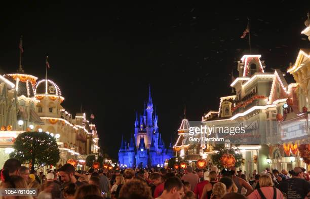 Cinderalla Castle is illuminated in blue as people wait for the Happily Ever After fireworks show to begin at the Walt Disney World Magic Kingdom...