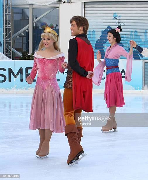 Cinderella and her prince attend a special skating experience with Princess Wishes and children from The Sunshine Kids at Citi Pond in Bryant Park on...