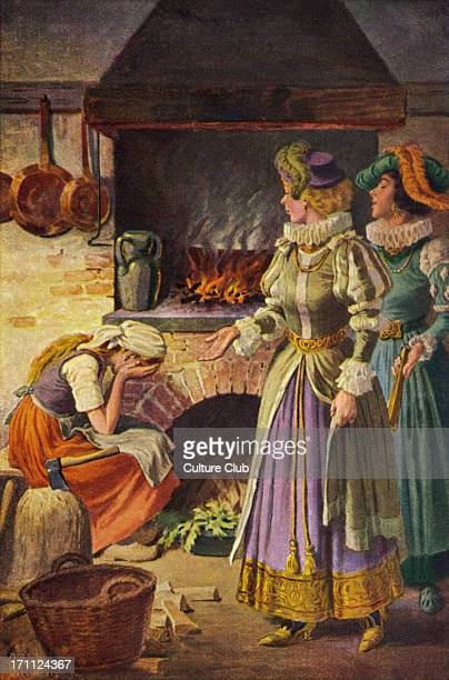Cinderella by the fire cinders in the kitchen wicked stepsisters being unpleasant to her Based on the fairy tale by Jakob Wilhelm Grimm