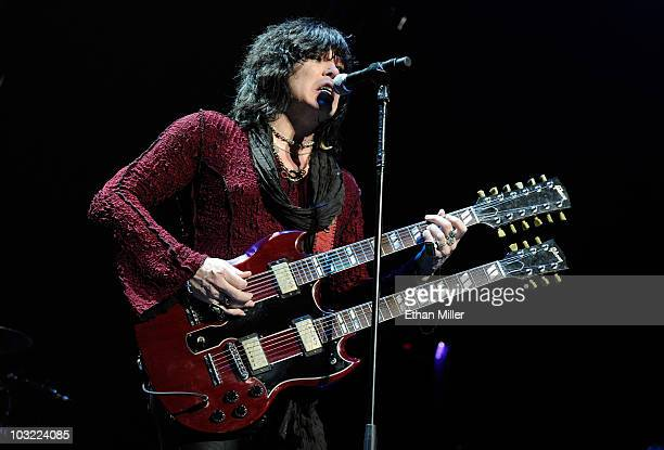 Cinderella frontman Tom Keifer performs as the band opens for the Scorpions at the Thomas Mack Center August 3 2010 in Las Vegas Nevada