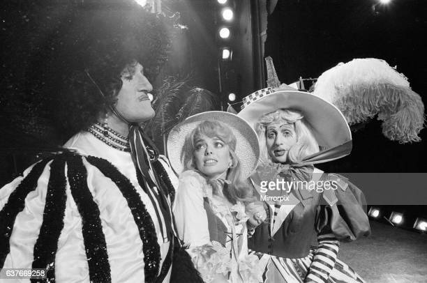 Cinderella Pantomime Photocall Alexandra Theatre Birmingham 20th December 1984 Ugly sisters Alexis Fred Evans and Krystle Roger Kitter with Sarah...