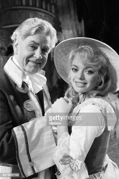 Cinderella Pantomime Photocall Alexandra Theatre Birmingham 20th December 1984 Anthony Steel plays Baron Hardup Sarah Payne plays Cinderella