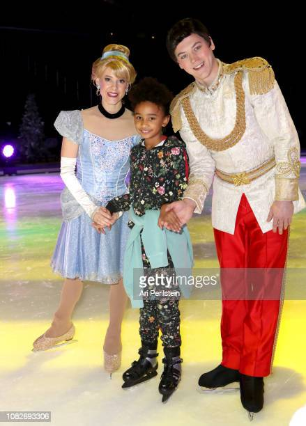 Cinderella Prince Charming and guest attend Disney On Ice Presents Dare to Dream Celebrity Skating Party at Staples Center on December 14 2018 in Los...