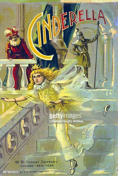 c1897 Illustration for cover of children's book Cinderella showing Cinderella running down steps dropping her slipper