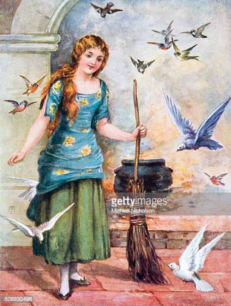 Cinderella shown with broom and surrounded by white doves in a book illustration This classic folk tale of a triumph over oppression may date from...