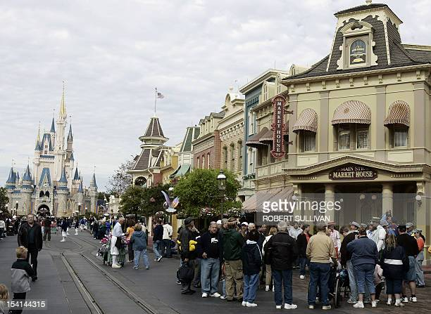 Cinderella's Castle is seen at the end of Main Street USA at Walt Disney World 25 January 2007 in Lake Buena Vista Florida Each night a randomly...