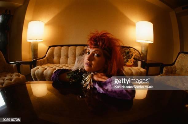 Cindi Lauper taken in a hotel room, March 1984, Tokyo, Japan.