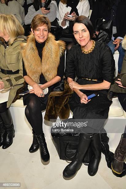 Cindi Leive and Jillian Davison attend the Ralph Lauren fashion show during MercedesBenz Fashion Week Fall 2014 at St John Center Studios on February...