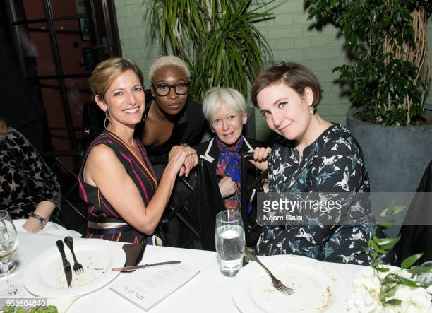 Cindi Leive Cynthia Erivo Joanna Coles and Lena Dunham attend the Brilliant Minds Initiative dinner at Gramercy Park Hotel Rooftop on May 1 2018 in...