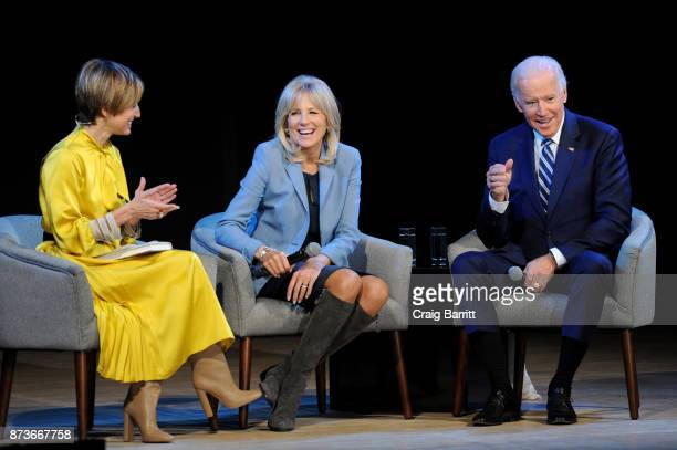 Cindi Leive Dr Jill Biden and Joe Biden speak onstage during Glamour Celebrates 2017 Women Of The Year Live Summit at Brooklyn Museum on November 13...