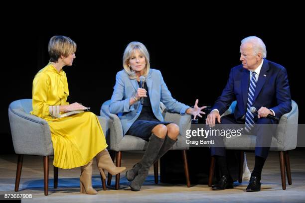 Cindi Leive Dr Jill Biden and Joe Biden speak onstage during Glamour Celebrates 2017 Women Of The Year Live Summit at Brooklyn Museum on November 13...