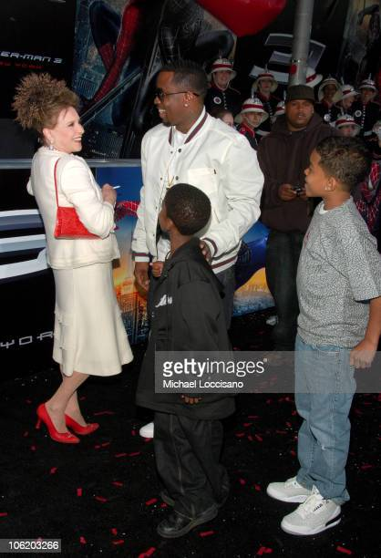 Cindy Adams and Sean Diddy Combs and Sons during SpiderMan 3 US Premiere at the Tribeca Film Festival at UA Kaufman Astoria Cinema 14 in Queens New...