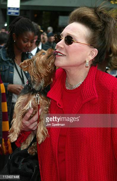Cindy Adams her dog during Harry Potter and the Chamber of Secrets New York Premiere Arrivals at The Ziegfeld Theatre in New York City New York...