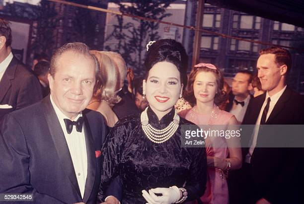 Cindy Adams with her husband Joey Adams going to a formal event circa 1970 New York
