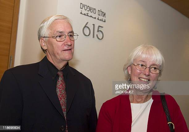 Cindy and Craig parents of US peace activist Rachel Corrie who was run over by an Israeli bulldozer during a demonstration in Gaza in 2003 arrive at...
