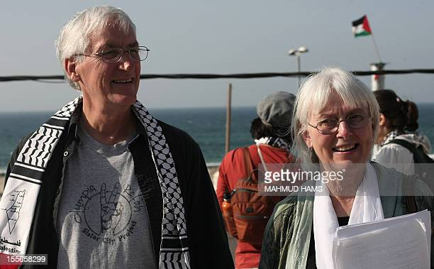 Cindy and Craig parents of US peace activist Rachel Corrie who was run over by an Israeli bulldozer during a demonstration in Gaza in 2003 smile...