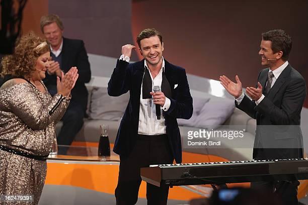Cindy aus Marzahn Justin Timberlake and Markus Lanz attend 'Wetten dass' from Friedrichshafen on February 23 2013 in Friedrichshafen Germany