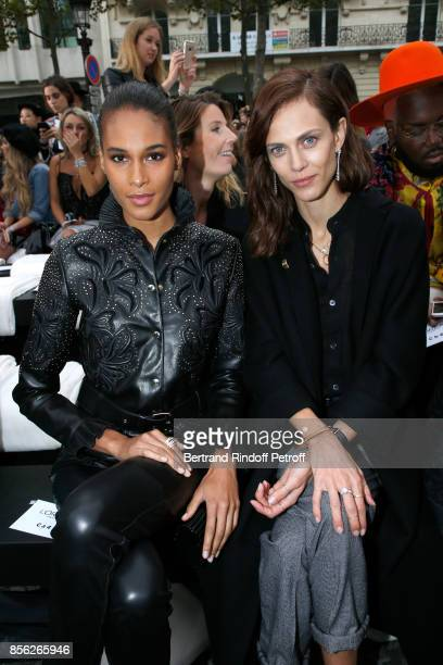 Cindy Bruna and Aymeline Valade attend 'Le Defile L'Oreal Paris show' as part of the Paris Fashion Week Womenswear Spring/Summer 2018 on October 1...