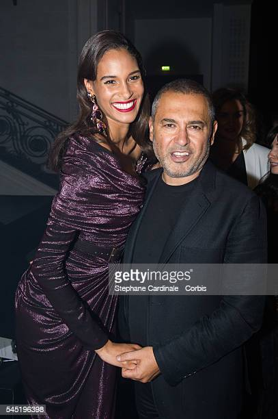 Cindy Bruna and Elie Saab attend the Elie Saab Haute Couture Fall/Winter 20162017 show as part of Paris Fashion Week on July 6 2016 in Paris France
