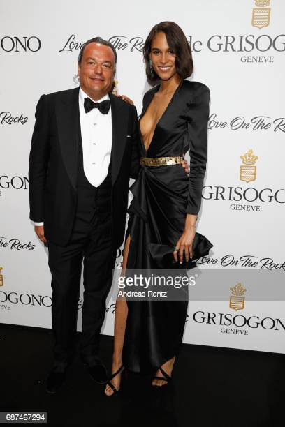 Cindy Bruna and guest attend the DeGrisogono 'Love On The Rocks' during the 70th annual Cannes Film Festival at Hotel du CapEdenRoc on May 23 2017 in...