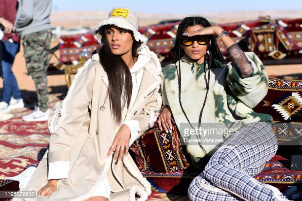 Cindy Bruna and Imaan Hammam attends the Sounds Of The Sands Desert Trip during the MDL Beast Festival on December 20 2019 in Riyadh Saudi Arabia
