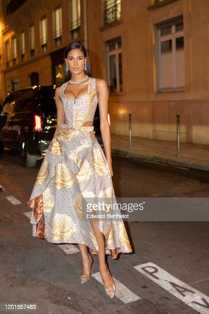 Cindy Bruna arrives at Sidaction Gala Dinner 2020 At Pavillon Cambon on January 23, 2020 in Paris, France.