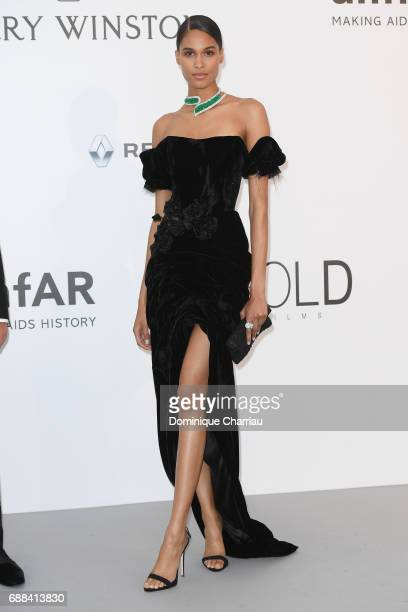 Cindy Bruna arrives at the amfAR Gala Cannes 2017 at Hotel du CapEdenRoc on May 25 2017 in Cap d'Antibes France