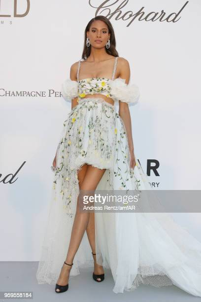 Cindy Bruna arrives at the amfAR Gala Cannes 2018 at Hotel du CapEdenRoc on May 17 2018 in Cap d'Antibes France