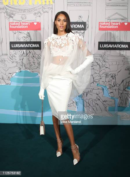 Cindy Bruna arrives at the Fabulous Fund Fair event during London Fashion Week February 2019 at the The Roundhouse on February 18 2019 in London...