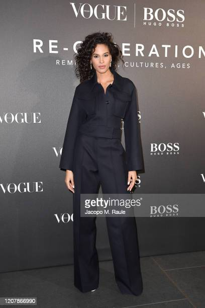 Cindy Bruna arrives for the BOSS & VOGUE Italia Event at Hotel Viu Milan on February 21, 2020 in Milan, Italy.