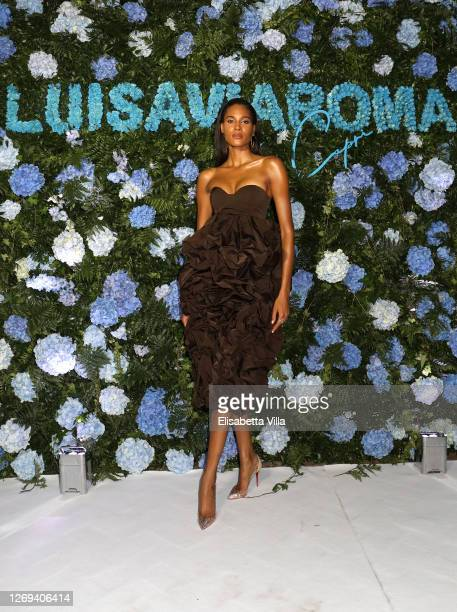Cindy Bruna attends a photocall at the LuisaViaRoma Window To a Fashion Future World book presentation at i Giardini di Augusto on August 28 2020 in...