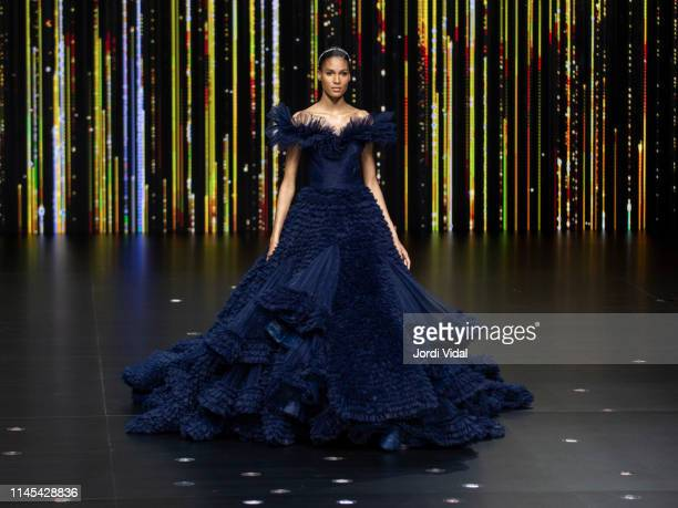 Cindy Bruna attends Pronovias rehearsal during Valmont Barcelona Bridal Fashion Week at Fira Barcelona Montjuic on April 26 2019 in Barcelona Spain
