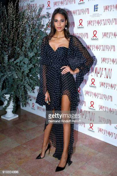 Cindy Bruna attends the 16th Sidaction as part of Paris Fashion Week on January 25 2018 in Paris France