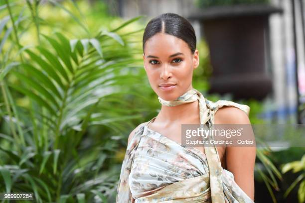 Cindy Bruna attends the Atelier Swarovski Cocktail Of The New Penelope Cruz Fine Jewelry Collection as part of Paris Fashion Week on July 2 2018 in...