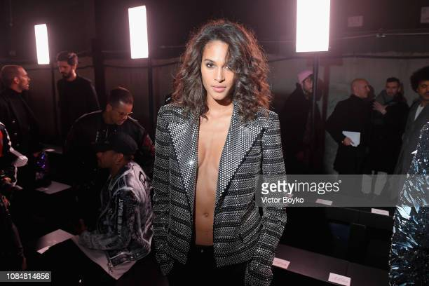 Cindy Bruna attends the Balmain Homme Menswear Fall/Winter 20192020 show as part of Paris Fashion Week on January 18 2019 in Paris France