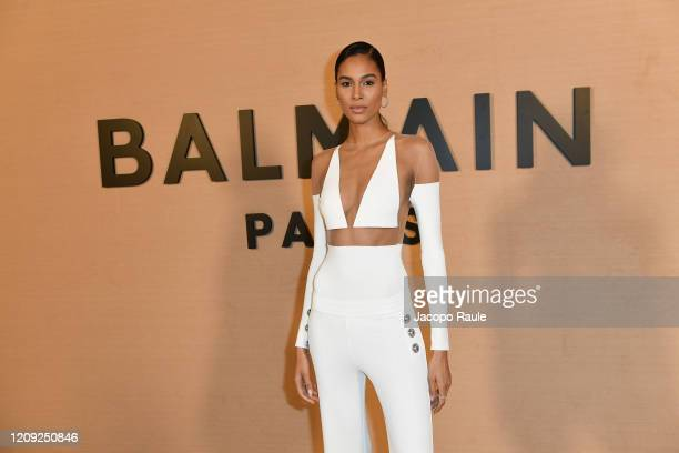 Cindy Bruna attends the Balmain show as part of the Paris Fashion Week Womenswear Fall/Winter 2020/2021 on February 28 2020 in Paris France