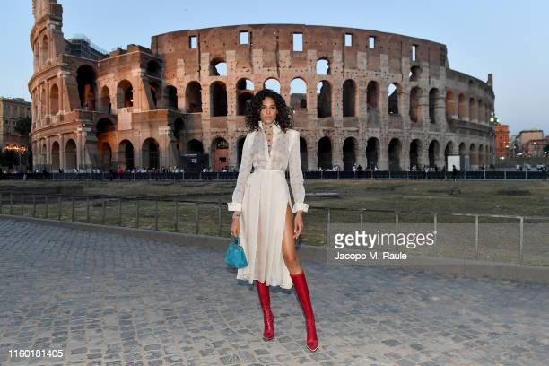 Cindy Bruna attends the Cocktail at Fendi Couture Fall Winter 2019/2020 on July 04, 2019 in Rome, Italy.