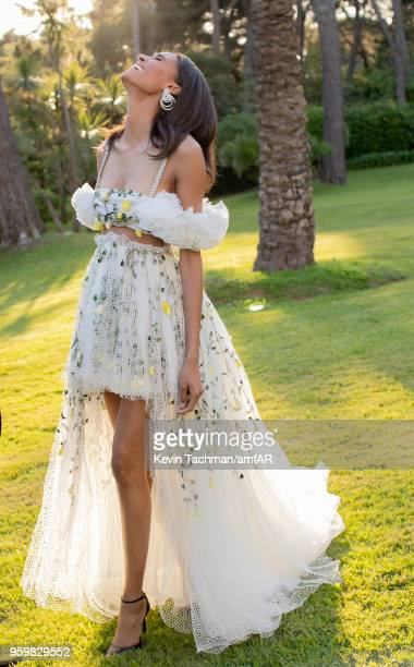 Cindy Bruna attends the cocktail at the amfAR Gala Cannes 2018 at Hotel du CapEdenRoc on May 17 2018 in Cap d'Antibes France