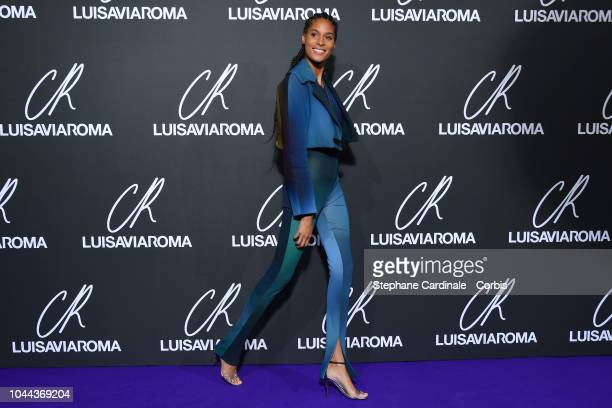 Cindy Bruna attends the CR Fashion Book x Luisaviaroma Photocall as part of the Paris Fashion Week Womenswear Spring/Summer 2019 on October 1 2018 in...