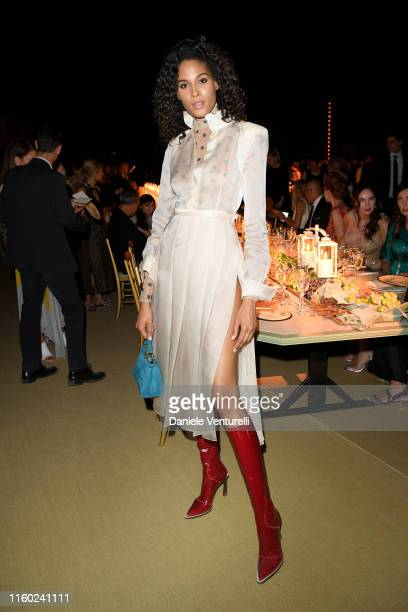 Cindy Bruna attends the Fendi Couture Fall Winter 2019/2020 Dinner on July 04, 2019 in Rome, Italy.